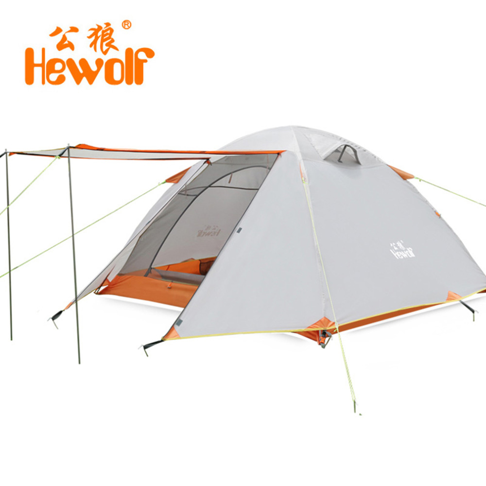 Hewolf Double Layer 3 4 Person Tents Rainproof Waterproof Outdoor Camping Tent Tourist Tent For Hunting Picnic Hiking Camping high quality outdoor 2 person camping tent double layer aluminum rod ultralight tent with snow skirt oneroad windsnow 2 plus