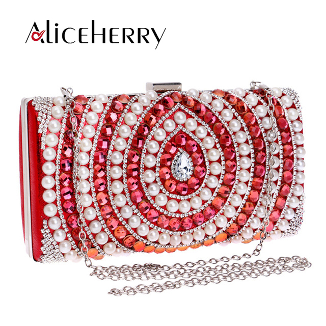 Luxury Brand Golden Silver Women Clutch Bags Pearl Beaded Evening Bag  Bridal Wedding Day Clutches b76663c34024
