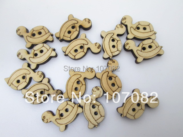 200pcs/lot 14x20mm Wood Cartoon Buttons Turtle Tortoise Shape Button With 2 Holes For Scrapbooking Decorations Sewing&Crafts
