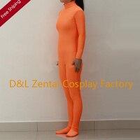 Frete grátis DHL Sexy adulto laranja Spandex Lycra Zentai Suit sem capuz A0300