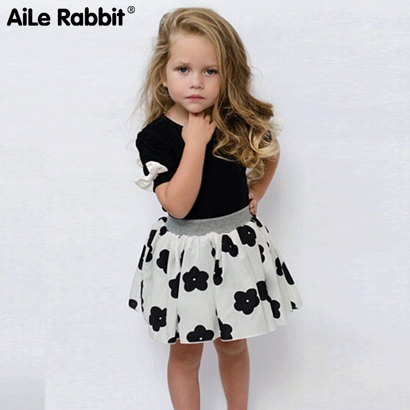 AiLe Rabbit 2018 girls clothes suit fashion short-sleeved T-shirt skirt 2 piece suit bow tie flower skirt children's clothing aile rabbit children s clothing suits for boys and girls classic camouflage outdoor suit autumn long sleeved shirt with pants