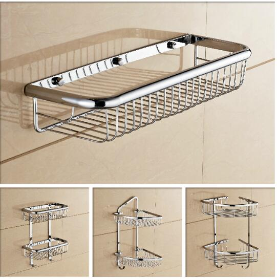 Wall Mounted Chrome Bathroom Soap Dish Brass Bath Shower Shelf New Arrivals  Bath Shampoo Holder Basket Holder Building Material