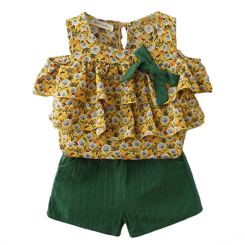 Girls Shouldwe  shirt + pants Floral dandelion 2pc Suit For Summer Casual Wear Kids Clothing cheap clothes(China)
