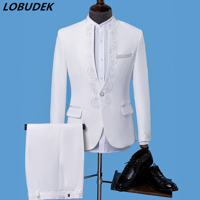 White Sparkly Crystals Men's Suits Slim Blazer Formal Wedding Prom Singer Costume Singer Chorus Host Performance Stage Outfit
