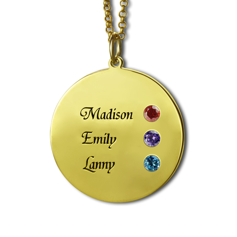 Wholesale Birthstone Mother Necklace Gold Color Personalized Name Disc Necklace Engraved Children Name NecklaceMemory Jewelry цепочка lotus цепочка