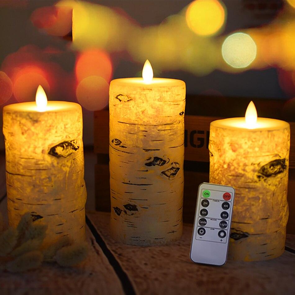 Bougies de pilier d'effet d'écorce de bouleau 3 pièces/ensemble, bougie à distance sans flamme de la cire led de paraffine pour la veilleuse de pièce, décor de bougie d'hôtel.