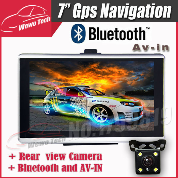 7 inch Car GPS Navigation Bluetooth AV-IN 800MHZ FM 128MB 2015 Map Free Russia/Belarus/Spain/ Europe/USA+Canada/Israel Navigator aw715 7 0 inch resistive screen mt3351 128mb 4gb car gps navigation fm ebook multimedia bluetooth av europe map