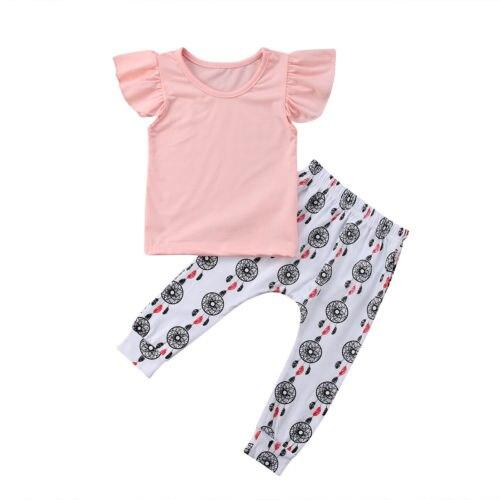 2 шт. для новорожденных Футболка для девочки из хлопка оборками топы с круглым вырезом ветер колокол брюки леггинсы наряды Комплект одежды