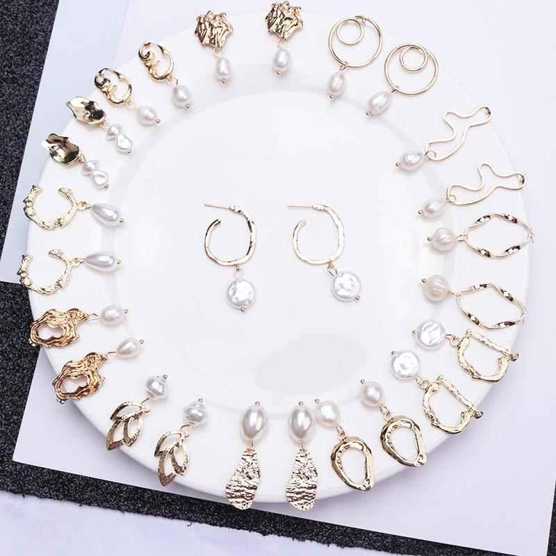 Винтажные золотые Висячие серьги для женщин 2019 Brincos геометрические Эффектные серьги большие свадебные неровный жемчуг серьги невесты ювелирные изделия