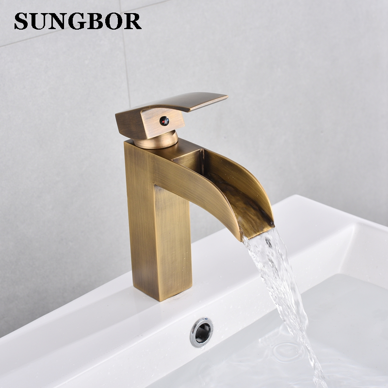 Basin Faucet Retro Black waterfall Bathroom Basin Faucet Brass Antique Hot Cold Single Handle Hole bathroom Sink Mixer Taps donyummyjo luxury bathroom basin faucet brass golden polish swan shape single handle hot