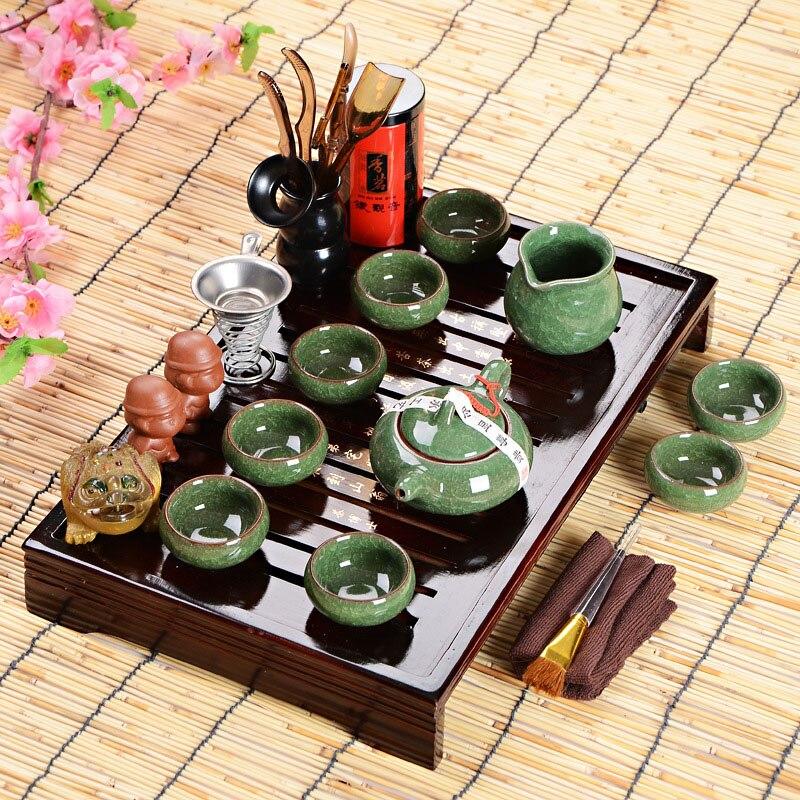 뜨거운 판매 아버지의 날 선물 아이디어 쿵푸 차 세트 drinkware 8 조각 세트 하이 엔드 선물을 통해 차 테이블과 중국 차 의식