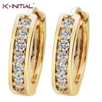 Kinitial 1Pair Small Hoop Earrings 24K Gold Cubic Zirconia Round Hoop Earrings Filled Clear Womens Earrings Surgical Jewelry