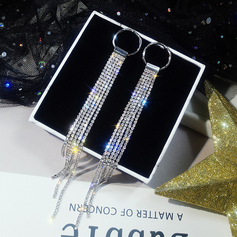 LUBOV Luxury Gold Silver Color Metal Long Chain Tassel Drop Earrings Punk Style Women Dangle Earrings Party Jewelry 2019 New