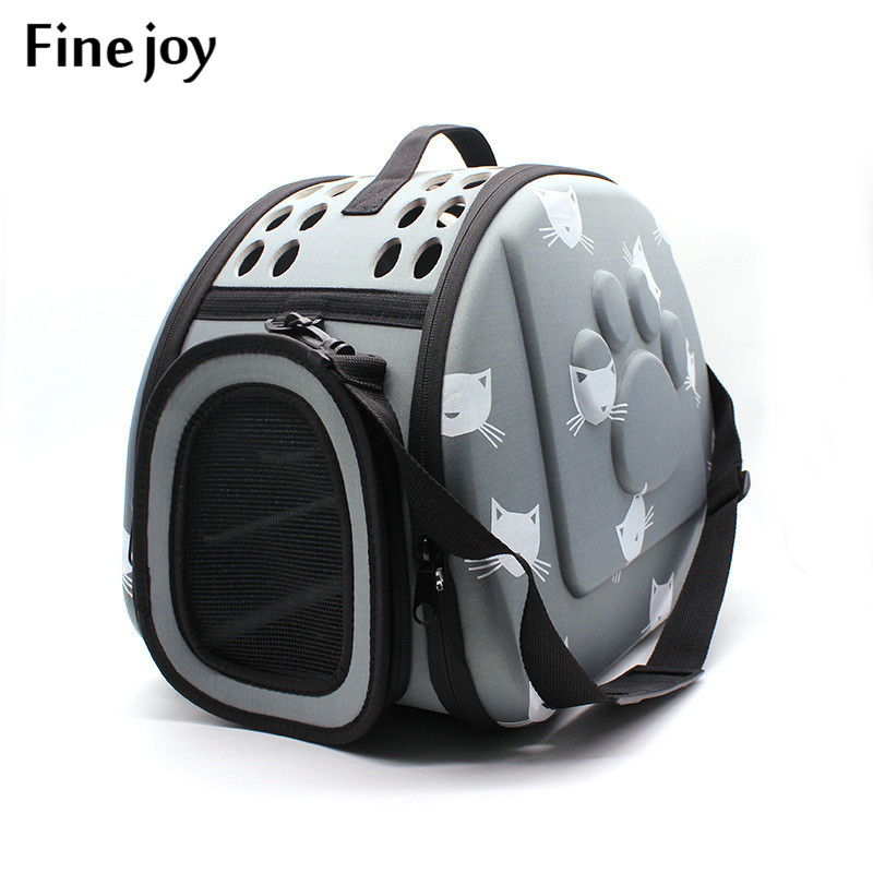 Fine Joy Pet Dog Cat Carrier Breathable Outdoor Shoulder Bags Travel Bag Folding Carrier Cage Collapsible Crate Tote Handbag