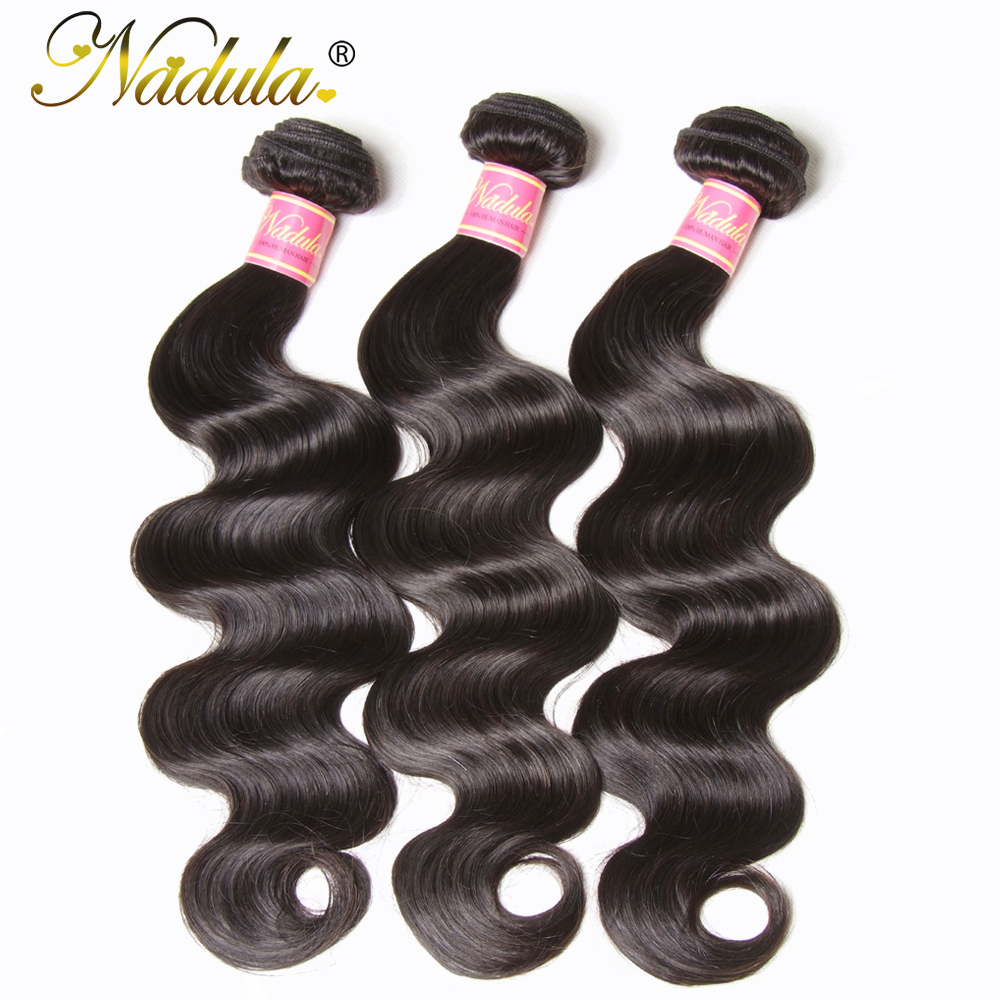 Nadula Hair 3Pcs Lot Body Wave Human Hair Weaves 8 30inch Peruvian Hair Bundles Natural Color