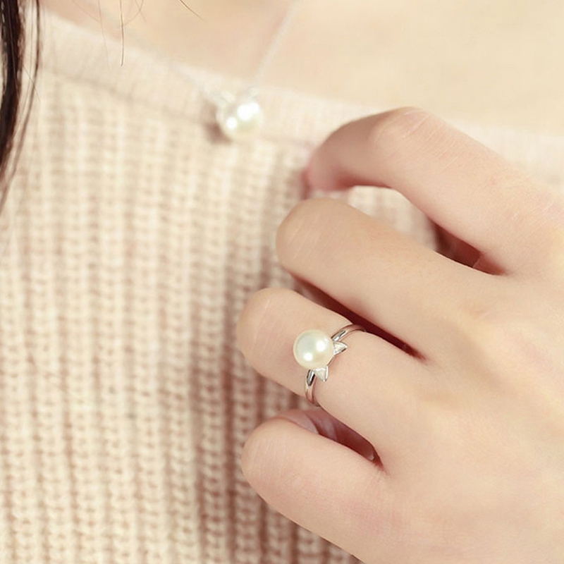 925 Streling Silver Real Freshwater Pearl Ring For Women Natural White Pearl Ring Fashion Jewelry Girl Gift in Rings from Jewelry Accessories