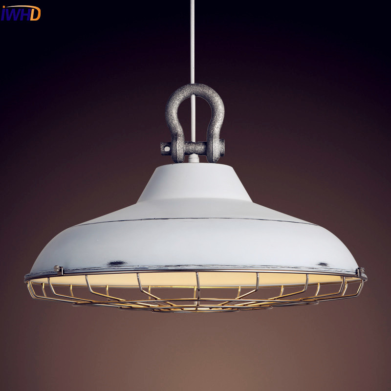 IWHD Nordic Loft Style Industrial Pendant Light Fixtures Dinning Room Retro Vintage Lamp LED Hanging Lights Iron Metal White american country retro loft style industrial pendant lamp fixture 2 lights dinning room vintage hanging light lampe lamparas