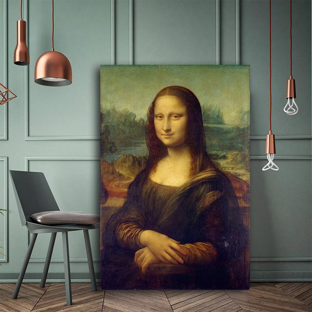 Mona Lisa de Leonardo da Vinci reproducción famosa pintura al óleo sobre lienzo carteles e impresiones Wall Picture for Living habitación