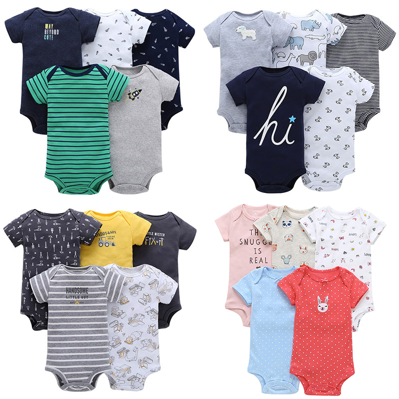 5pcs/Lot Baby Rompers Stripe Boys Clothing Cotton Short Sleeve Toddler Infant Jumpsuits Roupas Bebes Newborn Baby Girls Clothes