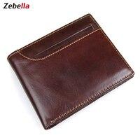 Zebella حقيقية جلد رجل محفظة محفظة الرجال ضئيلة قصيرة صغيرة المحفظة بطاقة محفظة المال bolso piel verdadera محفظة ضئيلة الرجال