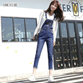 Женщины хлопок джинсовые комбинезоны Европейский стиль способа высокого качества старинные сексуальная рваные джинсы все матч высокая талия ковбойские штаны D226