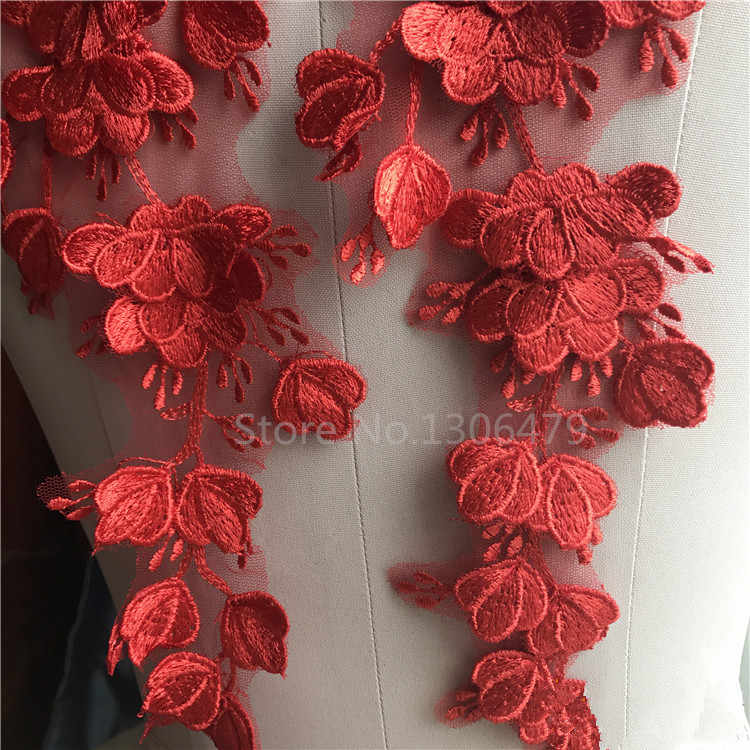 red 2 Pcs Handmade White Red 3D Water Soluble Applique Lace Flower Patch Bride Wedding Dress Accessories Flowers Patches