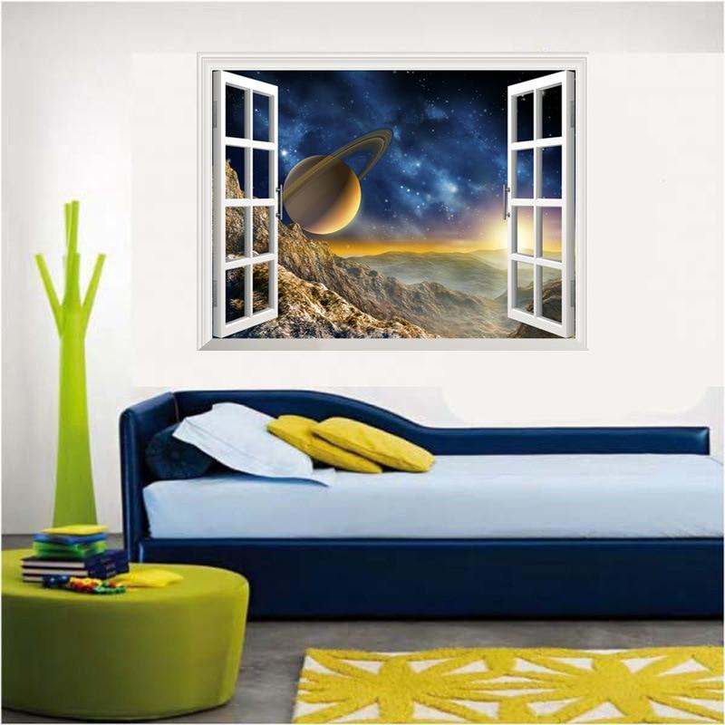 Neues Design Abnehmbare 3D Falsche Fenster Raum Planeten Dekoration  Wandaufkleber Wohnzimmer Sofa Wandtattoos Schlafzimmer Tapete In