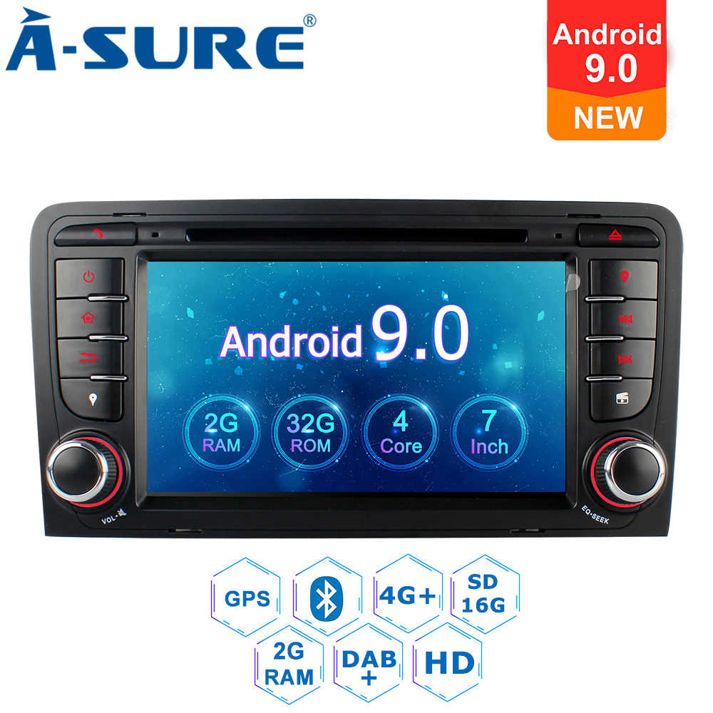 確か 2 喧騒オートラジオアンドロイド 9.0 Gps DVD プレーヤーナビゲーションアウディ A3 (2003-2011) RS3 S3 8 1080P 8V 8PA RNSE-PU SWC クアッドコア OBD +