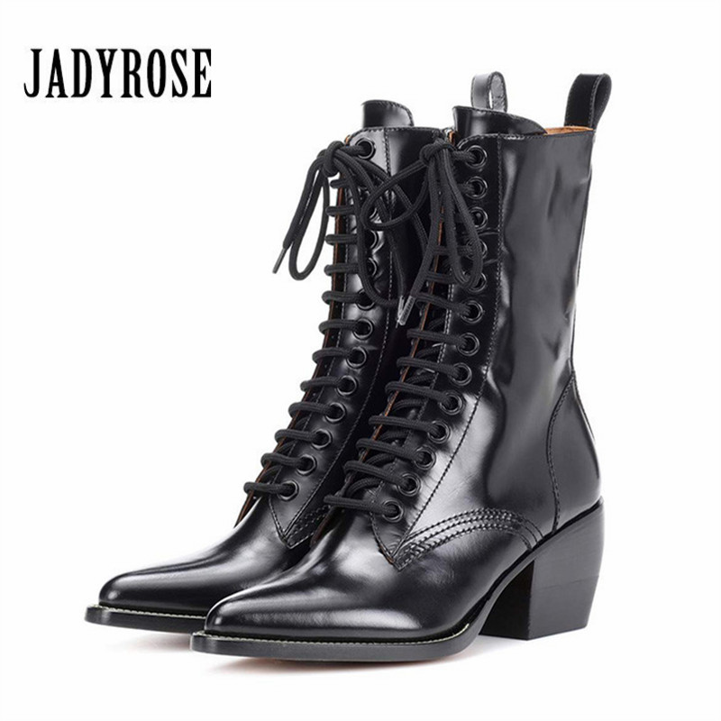 Jady Rose Pointed Toe Women Ankle Boots Autumn Chunky High Heel Botas Mujer Platform Lace Up Short Booties Female Martin Boot jady rose vintage black women knee high boots lace up side zip platform high boots thick heel flat martin boot for autumn winter