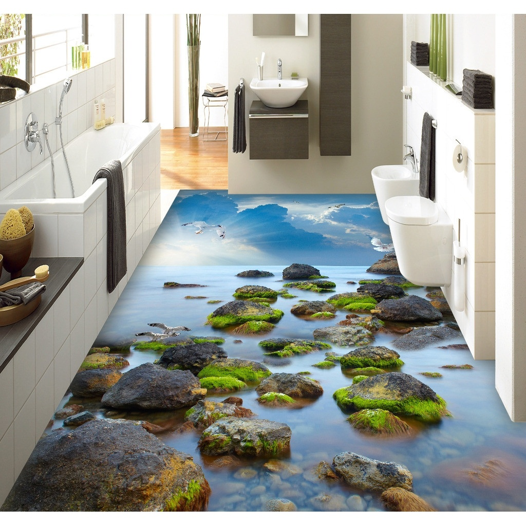 3D Pvc Bodenbelag Benutzerdefinierte Wandaufkleber TSea Stein Sea Sky 3D Bad  Bodenbelag Malerei Foto Wallpaper