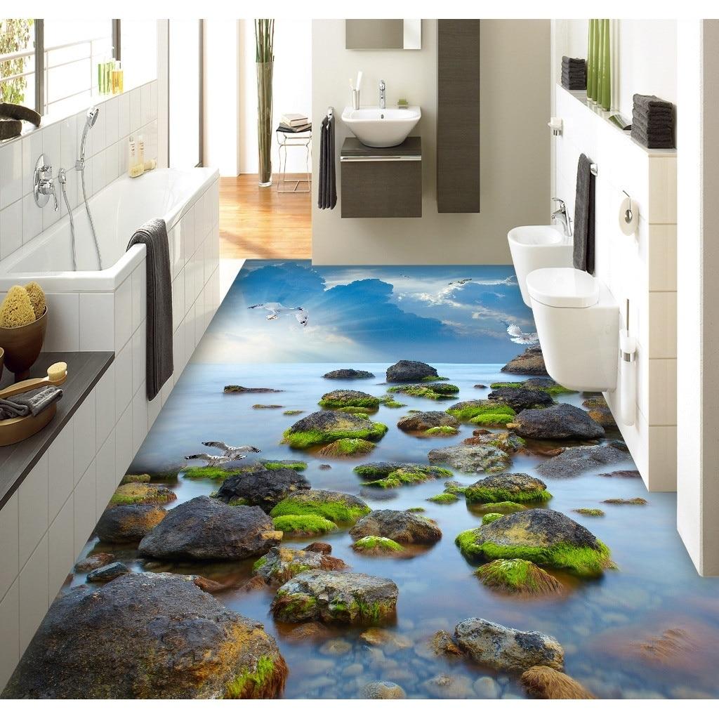 3D Pvc Flooring Custom Wall Sticker TSea Stone Sea Sky 3D Bathroom ...