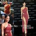 Меган фокс новый год в стиле сексуальная одно плечо разрез стороны пола длинное шифоновое платье знаменитости CD025