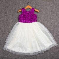 Hohe Qualität Amerikanischen Kinderkleidung Lila Blume Weste Top Ivory Tüll Patchwork Kinder Mädchen Party Prom Mädchen Boutique Kleid