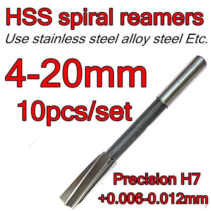 4 5 6 8 10 12 14 16 18 20mm 10pcs set HSS spiral reamers drill