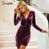 Simplee Velvet Soft Deep V Neck Bodycon Dress Vintage Autumn Winter Sexy Dress Women Long Sleeve