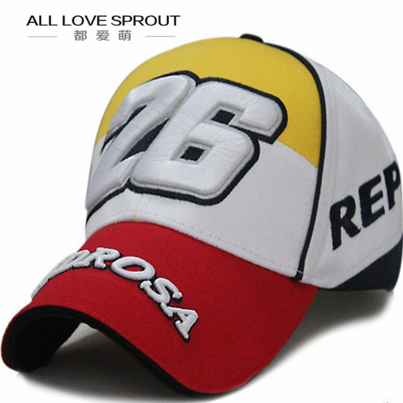 2017 Motor Gp 26 Pedro Rosa Motorcycle Racing   Cap   Hat Embroidery   Baseball     Cap   Cotton Leisure Hiphop Adjustable Bones Snapback