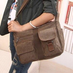Image 1 - Erkek seyahat çantası tuval erkek postacı çantası tasarımcı marka çanta erkek çanta Vintage erkek evrak çantası iş omuzdan askili çanta Bolsas