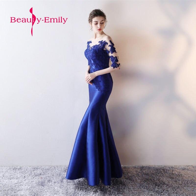 Dentelle longue robe de bal bleu royal Vestido de Festa étage longueur robe de soirée robe de soirée sirène robes de bal