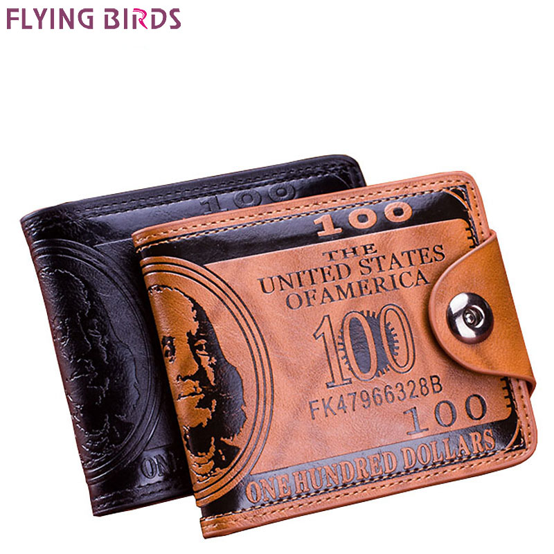 Flying birds men Wallet short dollar price Leather Wallets Clutch money purse men bags high quality credit card holder LM3854fb men wallet cowhide genuine leather purse money clutch card holder coin short on cover black dollar price 2017 male cash wallets