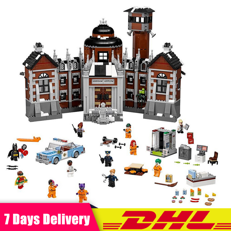 Lepin 07055 1628pcs Batman Movie Series THe Arkham`s Lunatic Asylum Set Building Blocks Bricks Toys Compatible LegoINGlys 70912 lepin 07055 1628pcs genuine batman movie series the arkham s lunatic asylum set building blocks bricks toys for children 70912