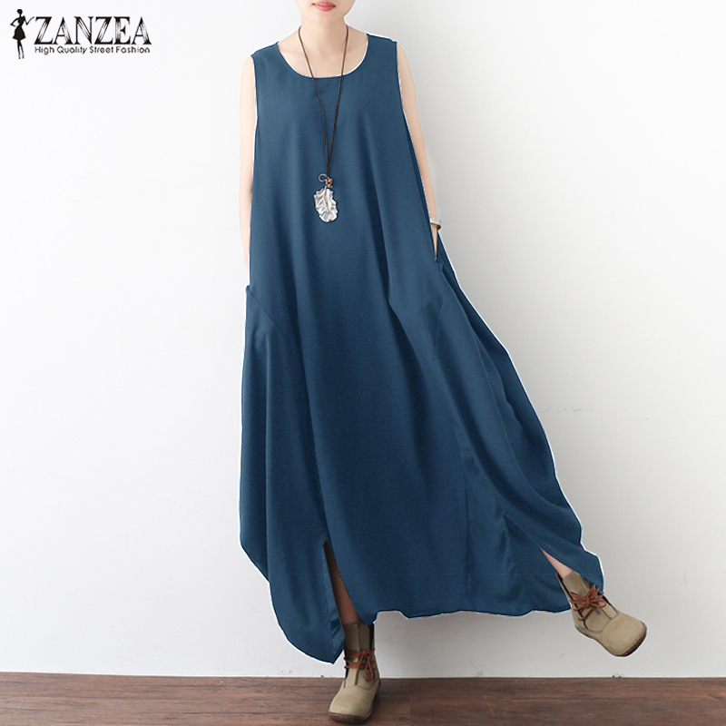 ZANZEA 2018 Summer Rompers Women   Jumpsuit   Casual Sleeveless Pockets Loose Baggy Long   Jumpsuits   Drop Crotch Overalls Plus Size