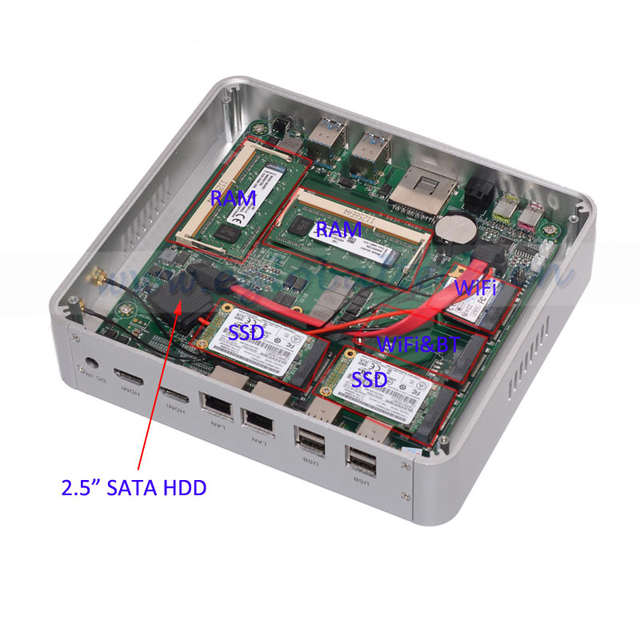 US $582 0 |5Gen CPU Intel Nuc Core i5 5200u 5257u Fanless Mini PC Windows  10 8GB RAM 512GB SSD 500GB HDD Small Computer 2Nics 2HDMI 4K HTPC-in Mini  PC