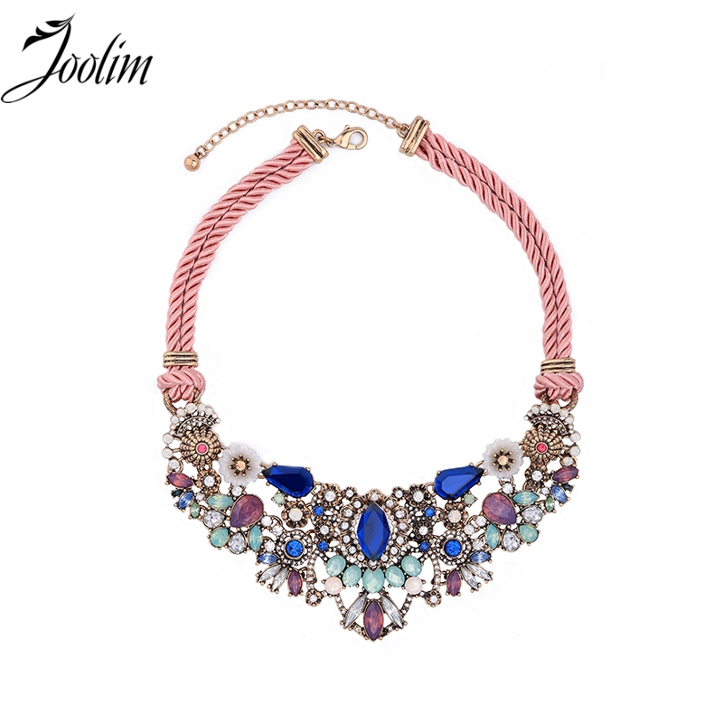 JOOLIM Jewelry Wholesale Wow-worthy Sweet Pink Cord Chain Feminine Floral Burst Statement Necklace Kolye Collares Black Friday