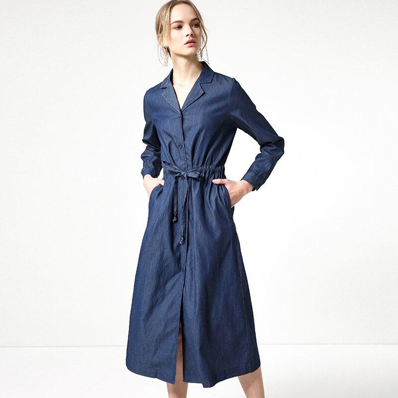 2018 Europe Spring New Cotton Womens Dress Single-Breasted Waist Lapel Denning Denim Dresses BNL013 Feminina Vestidos