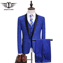 Fire Kirin Mens Royal Blue Suit Slim Fit Jacquard Suit Men 2017 Latest Wedding Suits For Groom 5XL Party Stage Prom Wear Q361  pyjtrl royal blue red white jacquard mens classic suit slim fit tuxedo wedding suits with pants groom stage singer costume homme