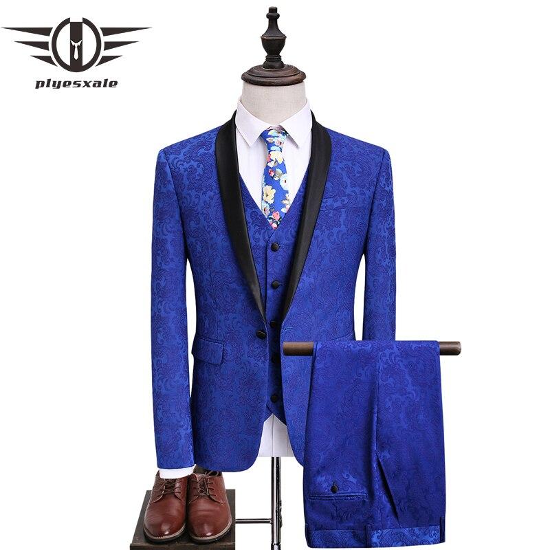 Plyesxale hommes costume bleu Royal Slim Fit Jacquard costume hommes 2018 derniers costumes de mariage pour le marié 5XL fête stade bal usure Q361