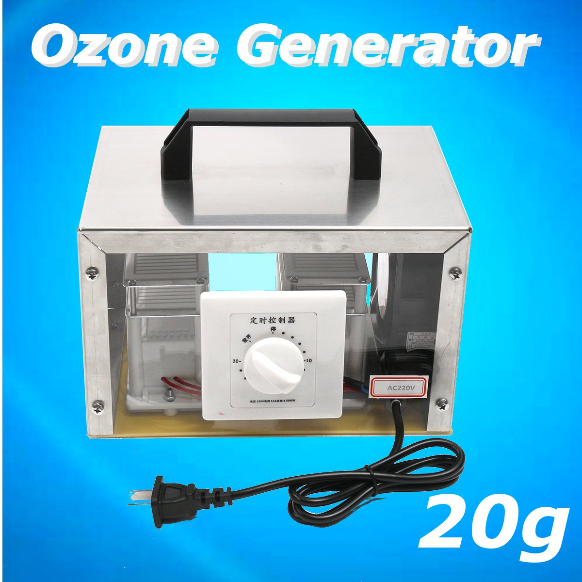 Purificateur d'air à la maison de Machine de désinfection de générateur d'ozone d'ac 220 V/voiture 20g + couverture d'acier inoxydable