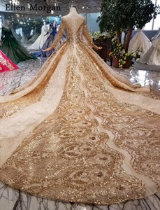 Image 4 - Gold Ball Gowns Wedding Dresses 2020 Boat Neck Lace up Pattern Chapel Train Saudi Arabia Elegant Long Sleeves Bridal Gowns
