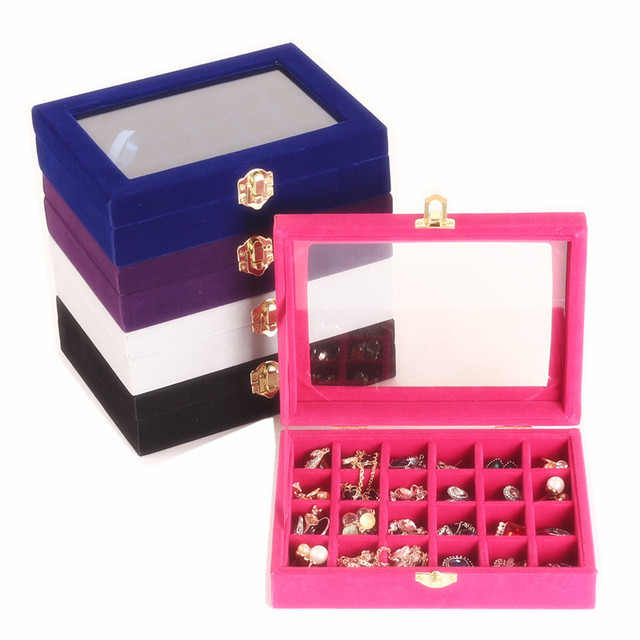 24 Grids Small Bracelet Gray Jewelry Box With Glass Cover Pendant