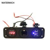 Waterwich 12 فولت dual usb السيارات السيارات ولاعة السجائر المقبس الفاصل محول شاحن الطاقة ل فون الرقمية الفولتميتر العرض